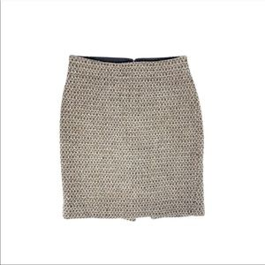 J Crew Timber Tweed Wool Cream Brown Pencil Skirt